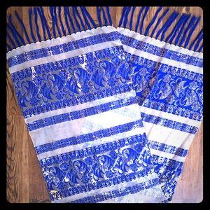 3/$25 Vintage Silver and Blue Silk Scarf / Shawl